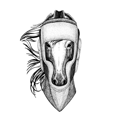Horse, hoss, knight, steed, courser Hand drawn image for tattoo, emblem, badge, logo, patch, t-shirt Foto de archivo - 124511014