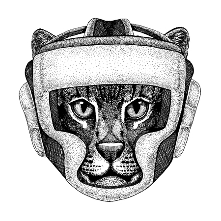 Wild cat Fishing cat Hand drawn image for tattoo, emblem, badge, logo, patch