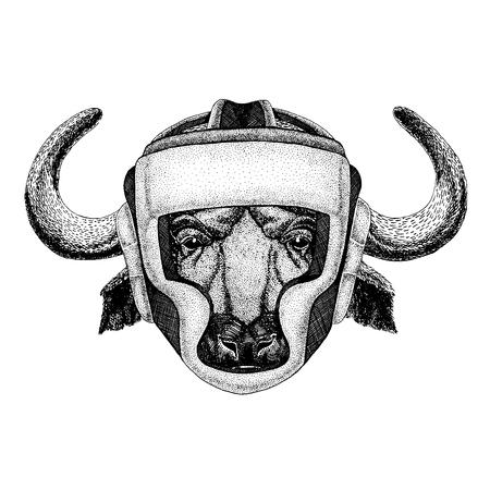 Buffalo, bull, ox Hand drawn illustration for tattoo, emblem, badge, logo, patch, t-shirt