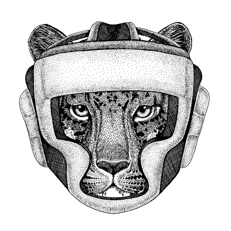 Wild cat Leopard Cat-o-mountain Panther Hand drawn picture for tattoo, emblem, badge, logo, patch, t-shirt