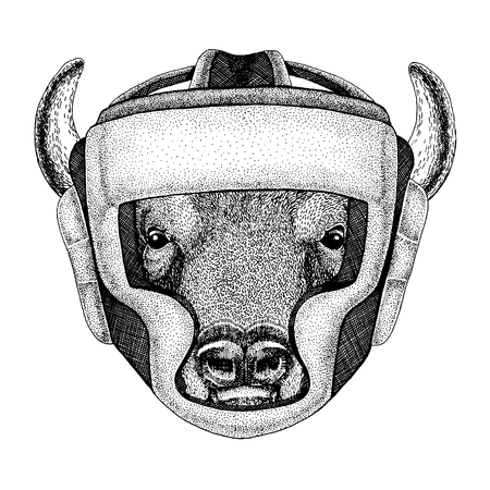 Boxer animal. Vector illustration for t-shirt. Sport, fighter isolated on white background. Fitness illustration of strong buffalo, bison,ox, bull