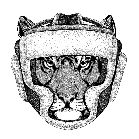 Wild tiger Hand drawn image for tattoo, emblem, badge, logo, patch, t-shirt