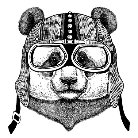 Panda, bamboo bear wearing motorcycle, aero helmet. Biker illustration for t-shirt, posters, prints. Ilustração