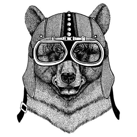 Black bear Animal wearing motorcycle, aero helmet. Biker illustration for t-shirt, posters, prints.