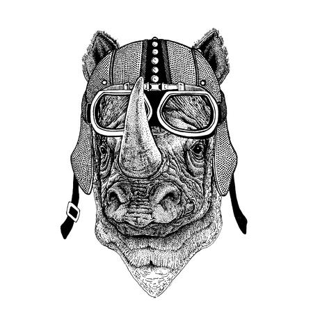 Rhinoceros, rhino wearing motorcycle, aero helmet. Biker illustration for t-shirt, posters, prints.