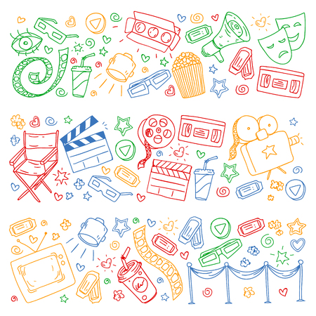 Cinema pattern with vector icons for wrapping paper, posters Illustration