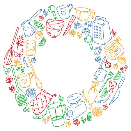 Cours de cuisine. Ustensiles de cuisine, ustensiles Icônes de nourriture et de cuisine