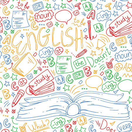 Language school for adult, kids. English courses, class. Illustration