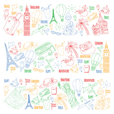 Vector pattern with travel icons. Great vacation, holidays. Hot air balloon, suitcase. Adventures and travel Illustration