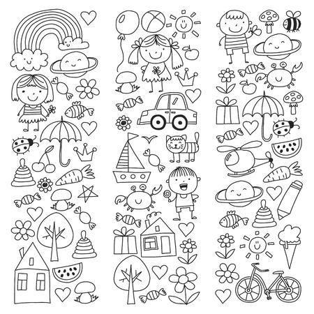 Kindergarten pattern with cute children and toys. Kids drawing style illustration. Ilustração