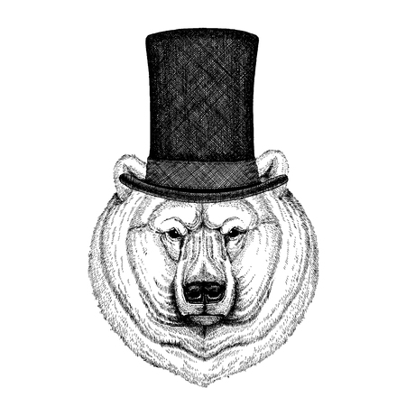 Wild animal wearing top hat, cylinder. Hipster Иллюстрация