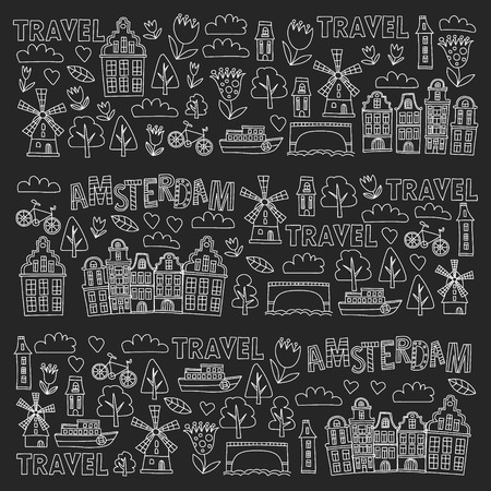 Vector pattern with Holland, Netherlands, Amsterdam icons. Doodle style 版權商用圖片 - 124385831