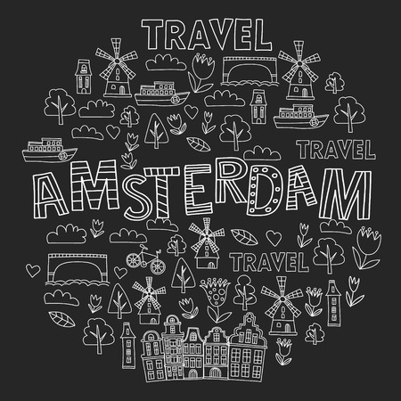 Vector pattern with Holland, Netherlands, Amsterdam icons. Doodle style 版權商用圖片 - 124385837
