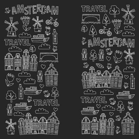 Patrón de vector con iconos de Holanda, Países Bajos, Amsterdam. Estilo Doodle Ilustración de vector