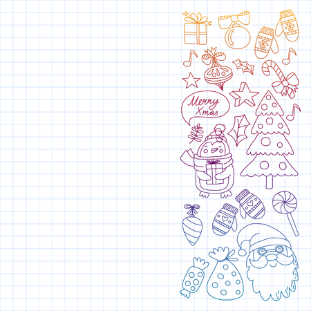Vector doodle pattern with Christmas icons