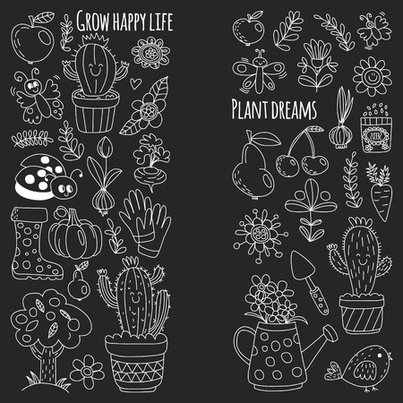 Vector pattern for backgrounds. Cute gardening. Icons for banners Stock Vector - 124385864