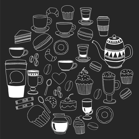 Coffee menu. Vector pattern with cappuccino, espresso. Kitchen cooking beverages
