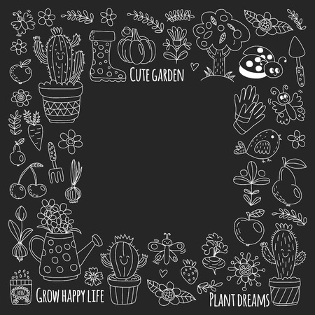 Vector pattern for backgrounds. Cute gardening. Icons for banners Stock Vector - 124385876