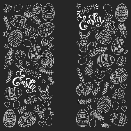 Happy Easter. Vector pattern with eggs, bunny, flowers. Illustration