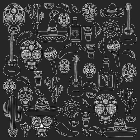 Mexico vector pattern. Day of the Dead.