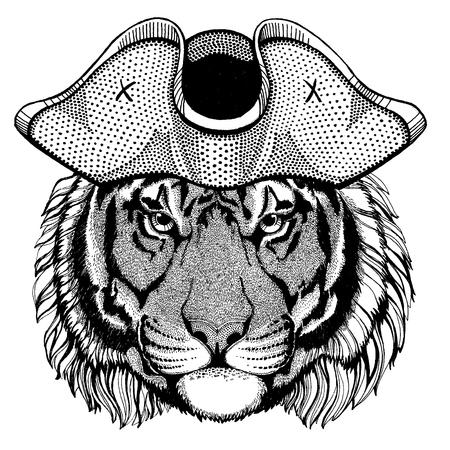 Tiger wearing pirate tricorn hat. Capitan costume. Illusztráció