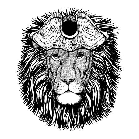 Lion wearing pirate tricorn hat. Capitan costume. Illustration