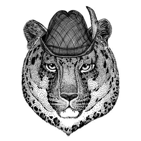 Wild animal Hand drawn image for tattoo, t-shirt, emblem, badge, logo, patch Çizim