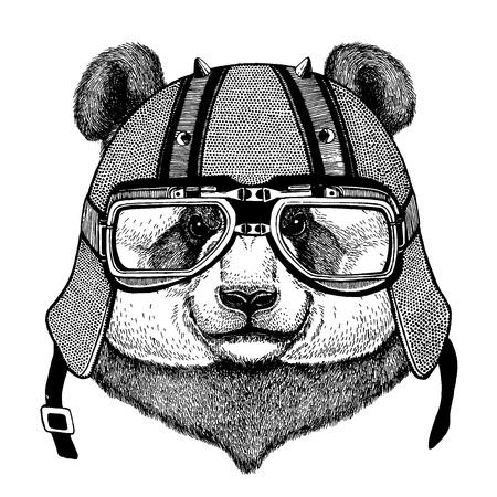 Bamboo bear, panda wearing a motorcycle, aero helmet.