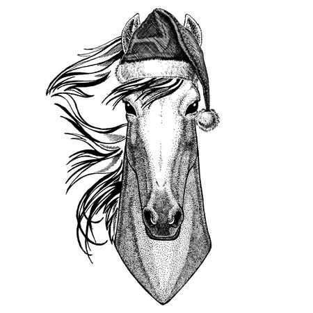 Animal wearing christmas Santa Claus hat. Hand drawn image for tattoo, emblem, badge, logo, patch