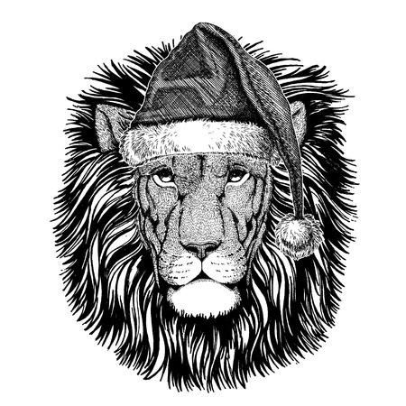 Lion wearing christmas Santa Claus hat.