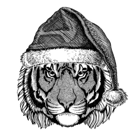 Animal wearing christmas Santa Claus hat. Hand drawn image for tattoo, emblem, badge, logo, patch