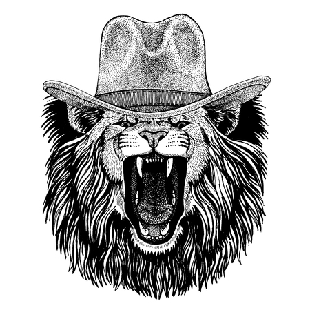 Lion wearing cowboy hat. Wild west animal. Archivio Fotografico - 119297426