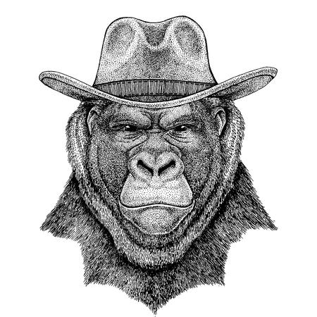 Gorilla, monkey, ape wearing cowboy hat. Wild west animal. Vetores