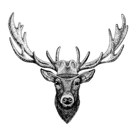 Deer wearing cowboy hat. Wild west animal. 일러스트