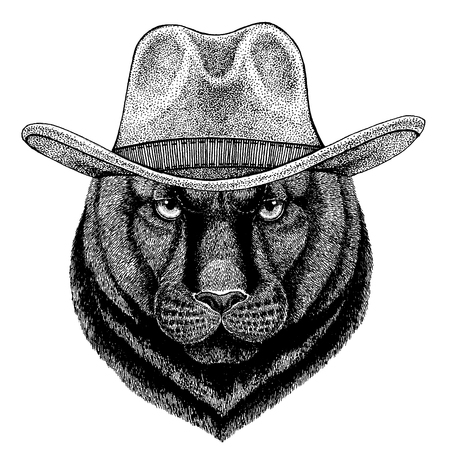 jaguar wearing cowboy hat. Wild west animal.