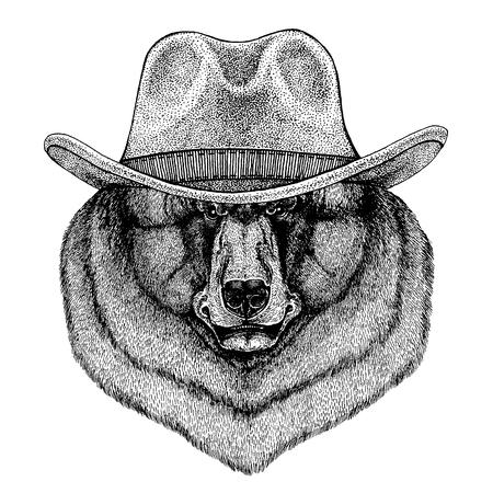 Black bear wearing cowboy hat. Wild west animal. Illustration