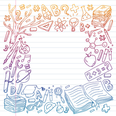 School, college, university, kindergarten pattern with vector elements and icons. Creativity and imagination.