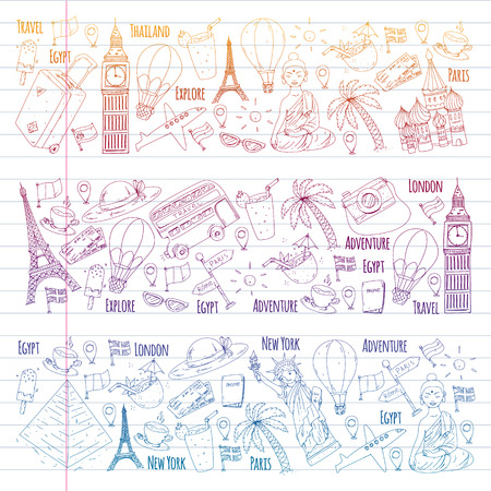 Reticolo di vettore con icone di viaggio. Ottima vacanza, vacanze. Mongolfiera, valigia. Avventure e viaggi Vettoriali
