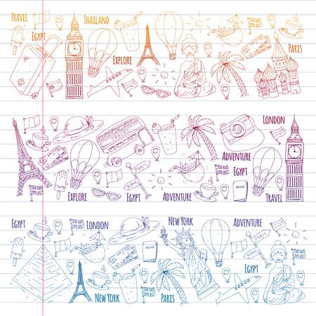 Wektor wzór z ikonami podróży. Świetne wakacje, święta. Balon na ogrzane powietrze, walizka. Przygody i podróże Ilustracje wektorowe