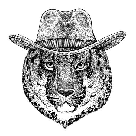 jaguar wearing cowboy hat. Wild west animal.