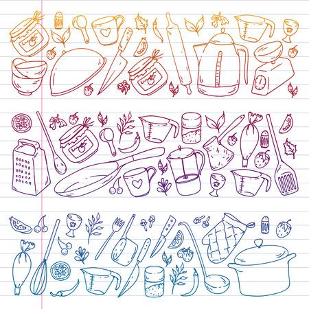 Cooking class. Kitchenware, utencils Food and kitchen icons Ilustracje wektorowe