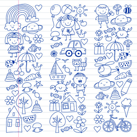 Kindergarten pattern with cute children and toys. Kids drawing style illustration. Foto de archivo - 124348560
