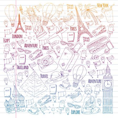 Wektor wzór z ikonami podróży. Świetne wakacje, święta. Balon na ogrzane powietrze, walizka. Przygody i podróże