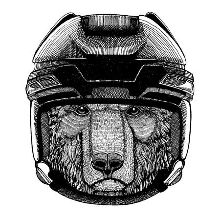 Brown bear, animal wearing hockey helmet. Hand drawn image of lion for tattoo, t-shirt, emblem, badge, logo, patch.