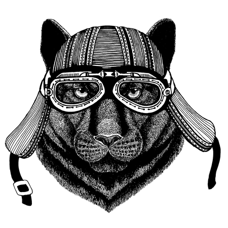Panther, puma, cougar, wild cat wild biker animal wearing motorcycle helmet. Hand drawn image for tattoo, emblem, badge, logo, patch, t-shirt. Stock Illustratie