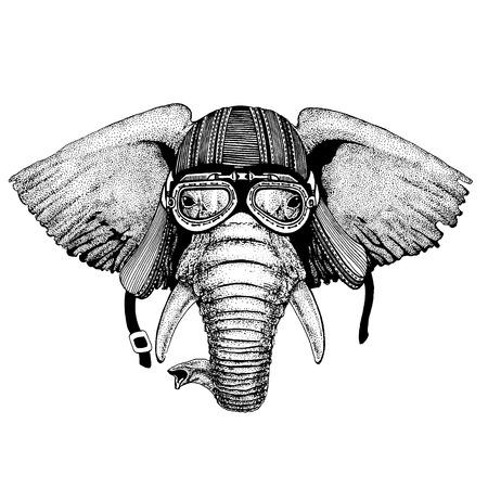 African or indian Elephant wild biker animal wearing motorcycle helmet. Hand drawn image for tattoo, emblem, badge, logo, patch, t-shirt. Illustration