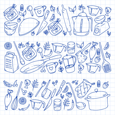 Cooking class. Kitchenware, utencils Food and kitchen icons Standard-Bild - 124134191