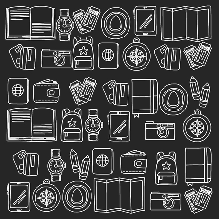 Modèle vectoriel avec des icônes de voyage. Préparez-vous pour les aventures et les voyages. Montgolfière, valise, avion. Bonnes vacances, vacances. Vecteurs