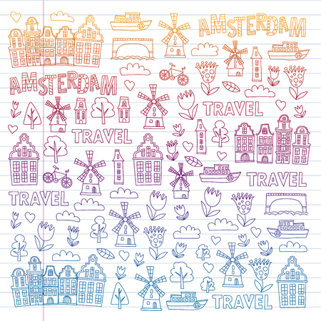 Vector pattern with Holland, Netherlands, Amsterdam icons. Doodle style 版權商用圖片 - 124114271
