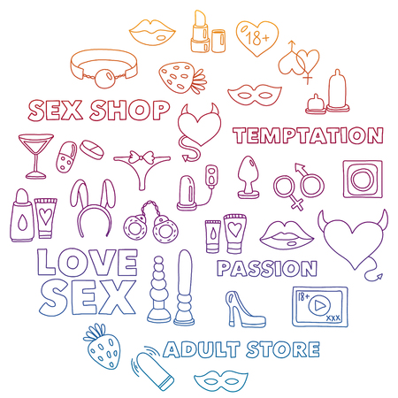 Vector set with shop icons. Erotic games background. Vektorové ilustrace